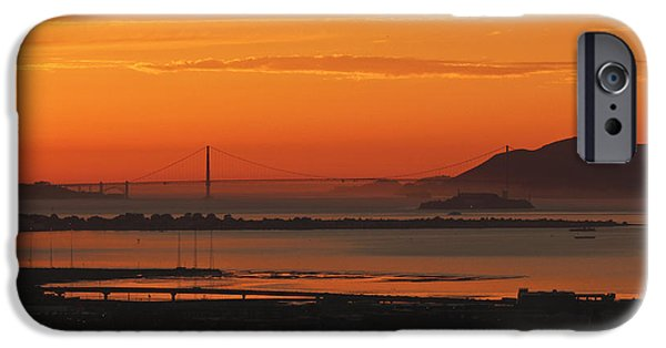 Alcatraz iPhone Cases - Tangerine Gate iPhone Case by Hugh Stickney