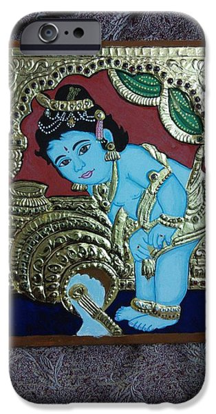 Old Reliefs iPhone Cases - Tanjavur Painting iPhone Case by Jayanthi Jayanthi
