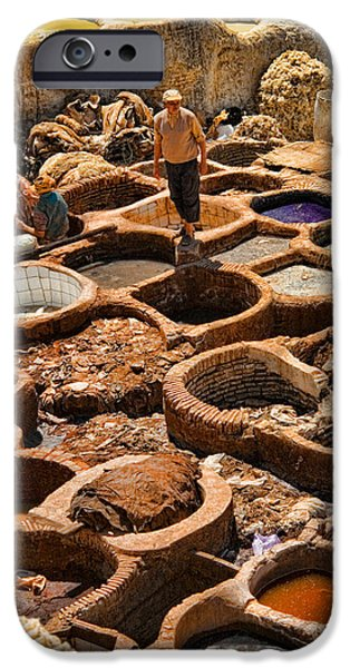 Fez iPhone Cases - Tanneries of Ancient Fes Morroco iPhone Case by David Smith