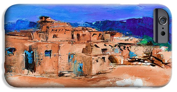 Earth Paintings iPhone Cases - Taos Pueblo Village iPhone Case by Elise Palmigiani