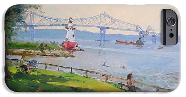 Best Sellers -  - Hudson River iPhone Cases - Tappan Zee bridge and light house iPhone Case by Ylli Haruni