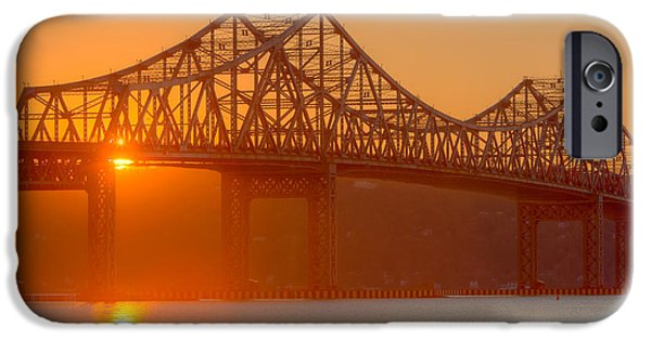 Hudson River iPhone Cases - Tappan Zee Bridge at Sunset I iPhone Case by Clarence Holmes