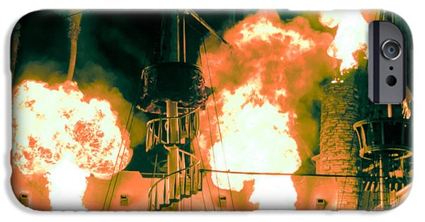 Pirate Ships iPhone Cases - Target in Flames iPhone Case by Andy Smy