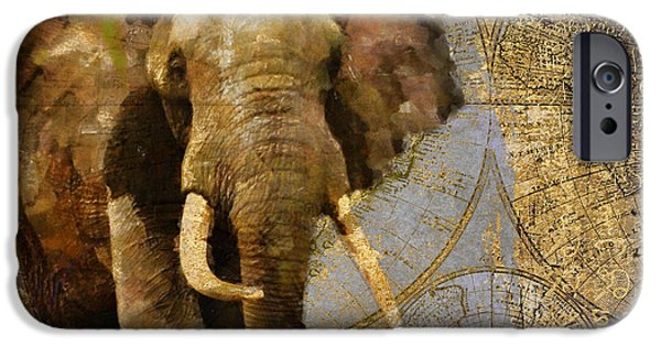 Elephants iPhone Cases - Taste of Africa Elephant iPhone Case by Mindy Sommers