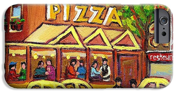 Afterschool Hockey Montreal Paintings iPhone Cases - Tasty Food Pizza On Decarie Blvd iPhone Case by Carole Spandau