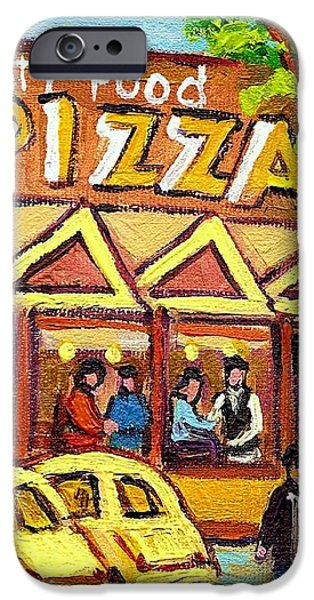 TASTY FOOD PIZZA ON DECARIE BLVD iPhone Case by CAROLE SPANDAU