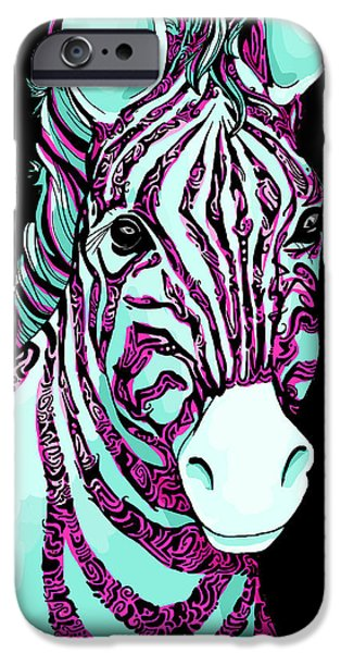 Animal Drawings iPhone Cases - Tattoo Zebra iPhone Case by Alexandra Franzese