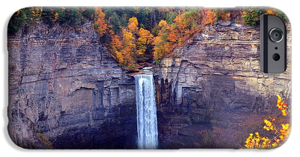 Park Scene Digital Art iPhone Cases - Taughannock waterfalls in autumn iPhone Case by Paul Ge