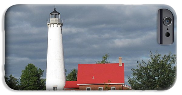 Historic Site iPhone Cases - Tawas Point Lighthouse iPhone Case by Cindy Kellogg