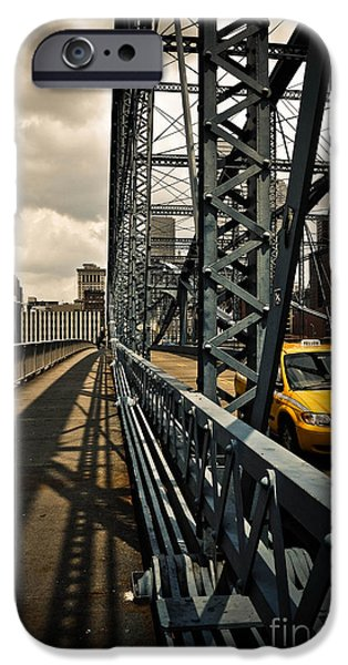 Taxi Crossing Smithfield Street Bridge Pittsburgh Pennsylvania iPhone Case by Amy Cicconi