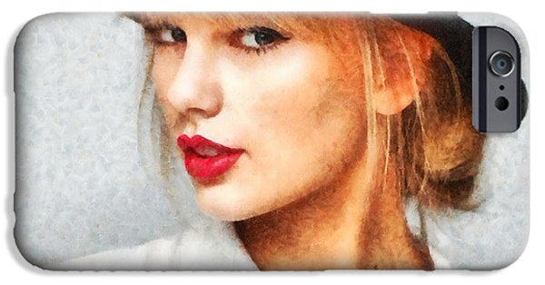 Taylor Swift iPhone Cases - Taylor Swift Painting On Canvas iPhone Case by Sir Josef  Putsche