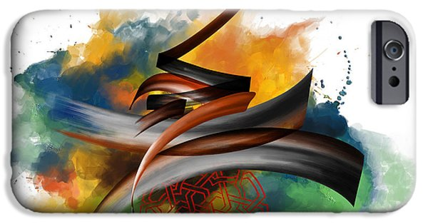 Abstract On Canvas Paintings iPhone Cases - TC Calligraphy 34 iPhone Case by Team CATF