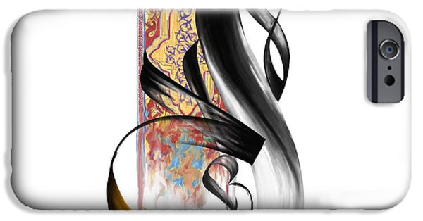 Abstract Art On Canvas Paintings iPhone Cases - TCM Calligraphy 32 1 iPhone Case by Team CATF