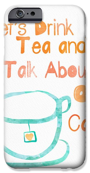 Animal Cards Mixed Media iPhone Cases - Tea and Cats iPhone Case by Linda Woods