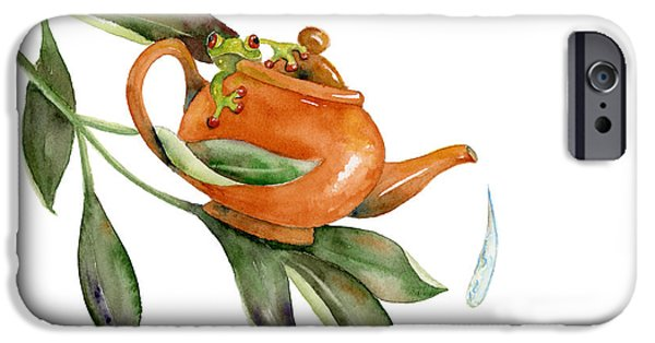 Frogs iPhone Cases - Tea Frog iPhone Case by Amy Kirkpatrick
