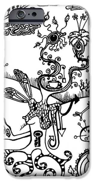 Piano Drawings iPhone Cases - Tea in the Sahara  iPhone Case by Kelly Jade King