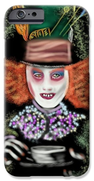 Mad Hatter iPhone Cases - Tea Party? Alice  iPhone Case by Pat Carafa