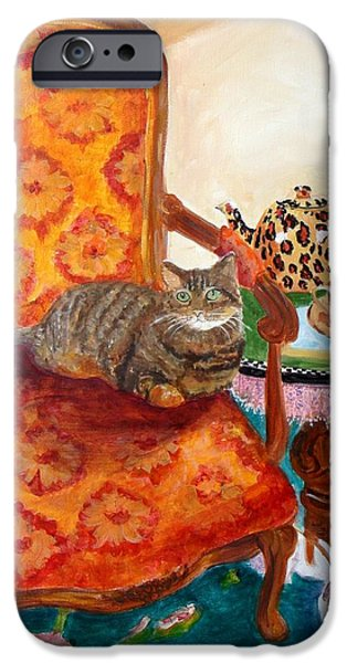 Interior Scene iPhone Cases - Tea Time with Curious Calvin iPhone Case by Linda Kegley