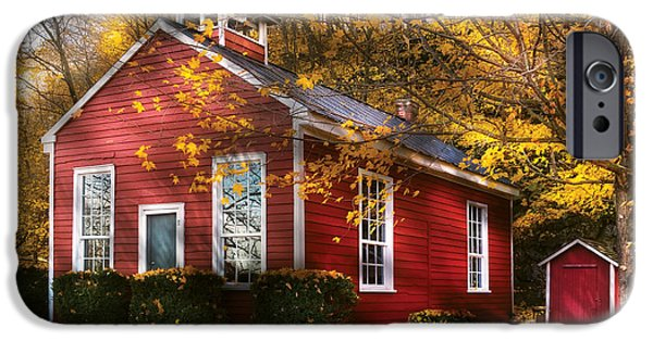 Red School House iPhone Cases - Teacher - School Days iPhone Case by Mike Savad