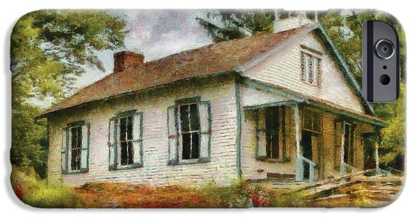 One Room School Houses iPhone Cases - Teacher - The School House iPhone Case by Mike Savad