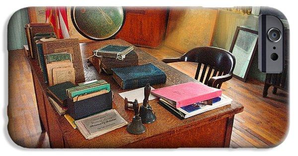 Desk Pyrography iPhone Cases - Teachers Desk iPhone Case by Michael Ciskowski