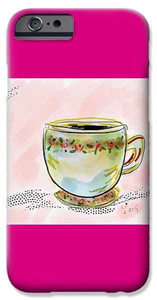 Tea Party iPhone Cases - Teacup watercolor iPhone Case by Laurel Foster