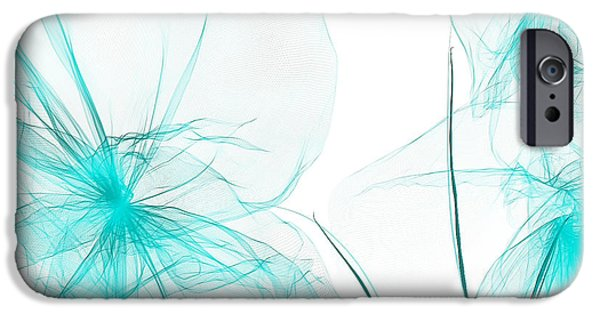 Light Blue Abstract iPhone Cases - Teal Abstract Flowers iPhone Case by Lourry Legarde
