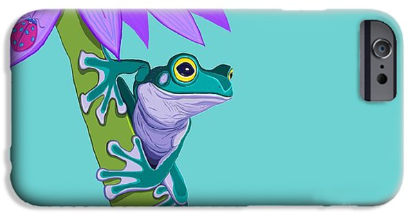 Amphibians Digital Art iPhone Cases - Teal Frog and Purple Flower iPhone Case by Nick Gustafson
