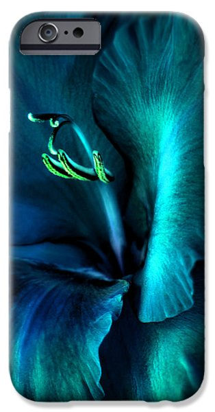 Gladiolas iPhone Cases - Teal Gladiola Flower iPhone Case by Jennie Marie Schell