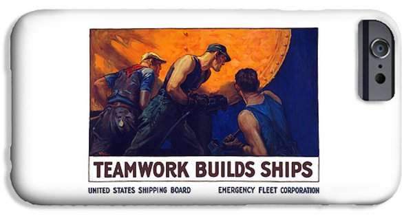 Wwi iPhone Cases - Teamwork Builds Ships iPhone Case by War Is Hell Store