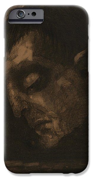 20th Drawings iPhone Cases - Tears iPhone Case by Odilon Redon