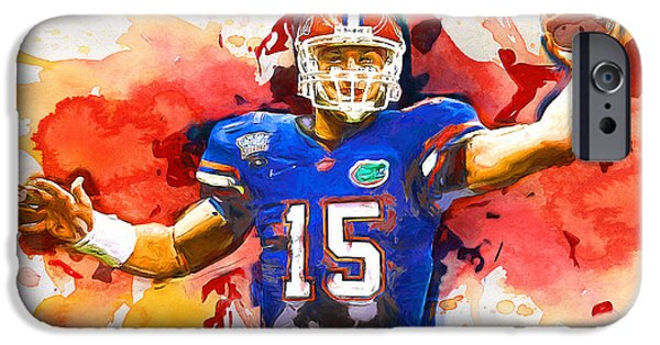 Tim Tebow Paintings iPhone Cases - Tebow Splash TD iPhone Case by John Farr