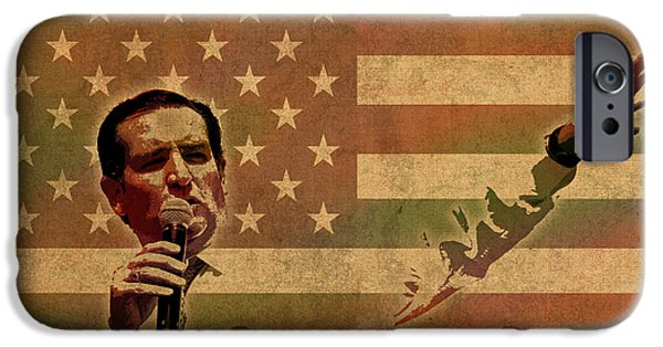 President Mixed Media iPhone Cases - Ted Cruz for President Imagine Speech 2016 USA Watercolor Portrait on Distressed American Flag iPhone Case by Design Turnpike