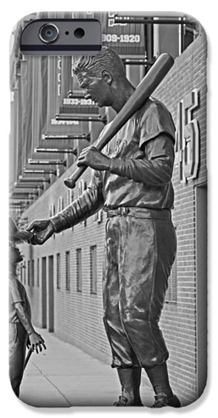 Boston Ma iPhone Cases - Ted Williams Statue Boston MA Fenway Park Black and White iPhone Case by Toby McGuire