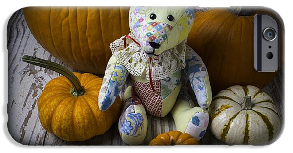Fall iPhone Cases - Teddy Bear And Pumpkins iPhone Case by Garry Gay