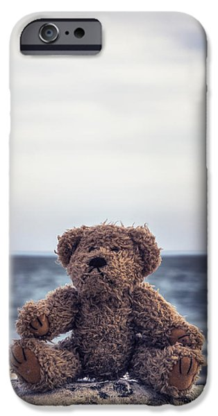 Stuffed Animal iPhone Cases - Teddy Bear At The Sea iPhone Case by Joana Kruse