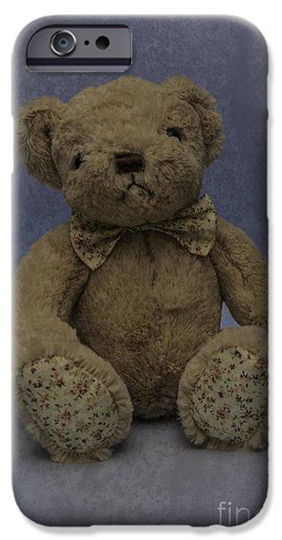 Innocence iPhone Cases - Teddy Bear Blue iPhone Case by Steve Purnell