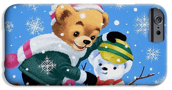 Snow iPhone Cases - Teddy Bear Building a Snowman iPhone Case by William Francis Phillipps