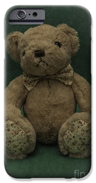 Innocence iPhone Cases - Teddy Bear Green iPhone Case by Steve Purnell