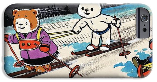 Tobogganing iPhone Cases - Teddy Bears Skiing iPhone Case by William Francis Phillipps