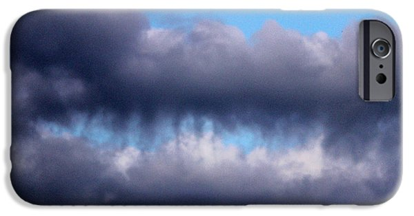 Drama iPhone Cases - Teeth Biting Clouds iPhone Case by Cynthia Guinn