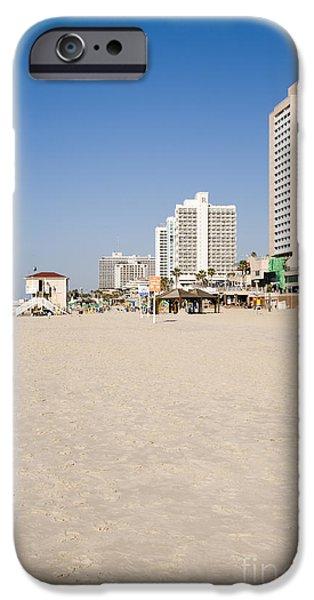 City Scape iPhone Cases - Tel Aviv coastline iPhone Case by Ilan Rosen