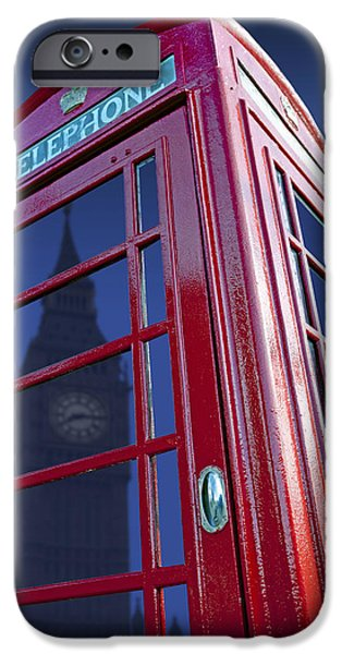 Big Ben iPhone Cases - Telephone Box & Big Ben iPhone Case by Simon Kayne