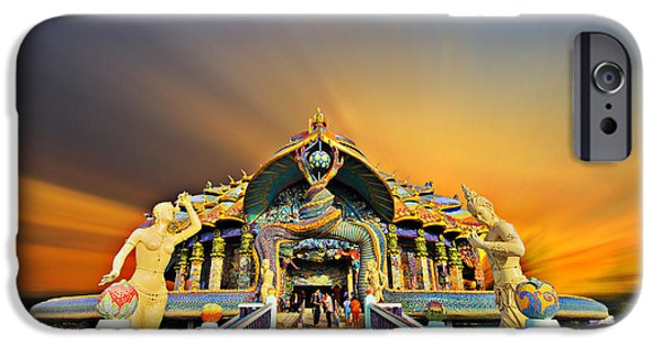 Asian Sculptures iPhone Cases - Temple At Twilight In Thailand iPhone Case by Kriangkrai Netnangrong