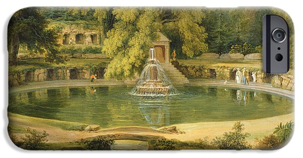 Garden iPhone Cases - Temple Fountain and Cave in Sezincote Park iPhone Case by Thomas Daniell