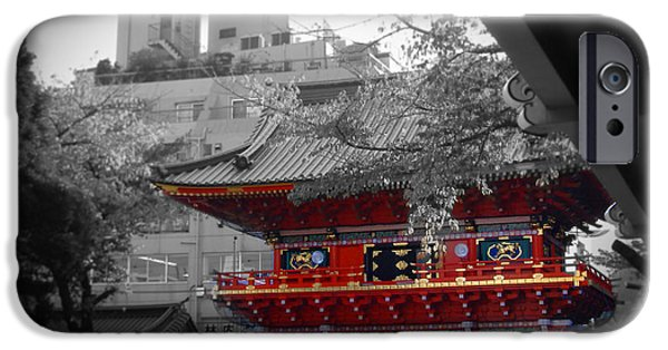 Asia iPhone Cases - Temple in Tokyo iPhone Case by Naxart Studio