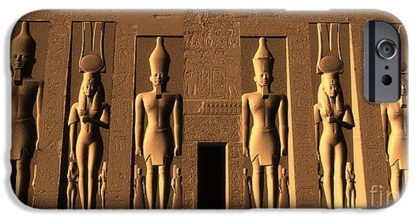 Hathor iPhone Cases - Temple of Nefertari iPhone Case by Corey Ford