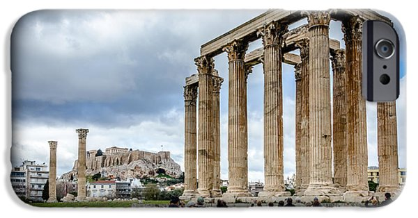 Zeus iPhone Cases - Temple of Zeus and Acropolis - Athens Greece 2 iPhone Case by Debra Martz