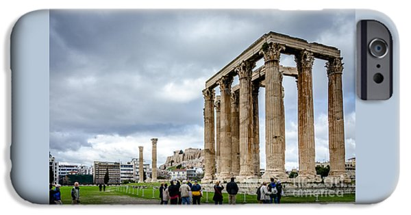 Zeus iPhone Cases - Temple of Zeus and Acropolis - Athens Greece iPhone Case by Debra Martz