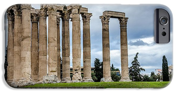 Zeus iPhone Cases - Temple of Zeus - Athens Greece 2 iPhone Case by Debra Martz